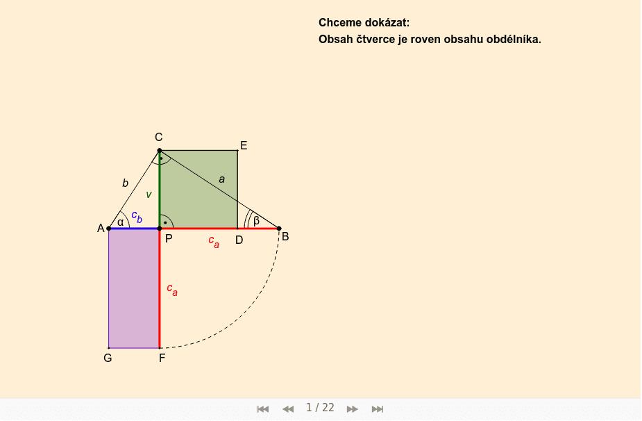Důkaz 3 (pomocí shodnosti trojúhelníků):