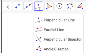 Perpendicular bisector, click on the sides. Angle bisector, click on 3 vertices with the angle you want bisected in the center.