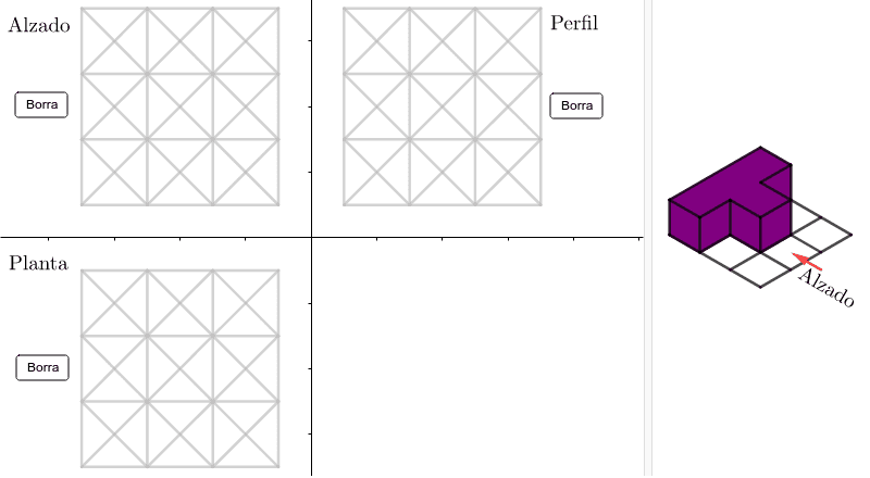 Pulsar sobre cada segmento hasta logar trazar las vistas de la figura de la derecha Presiona Intro para comenzar la actividad