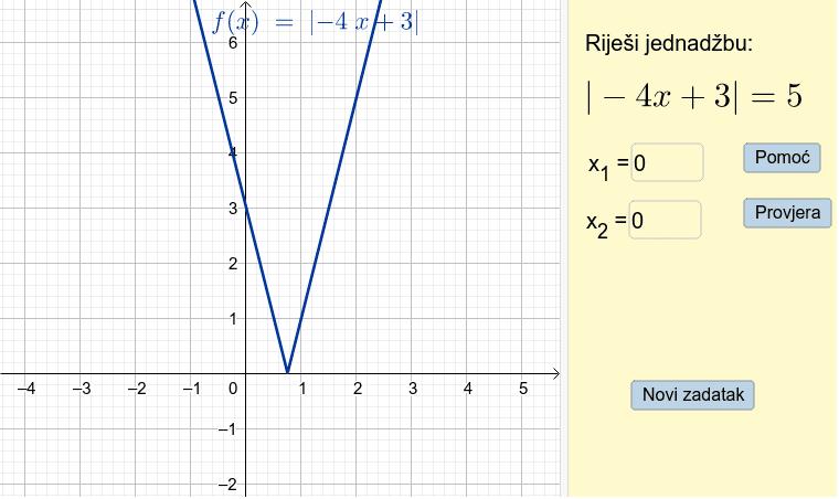 Uvježbaj rješavanje jednadžbi s apsolutnom vrijednošću Pritisnite Enter kako bi započeli aktivnost