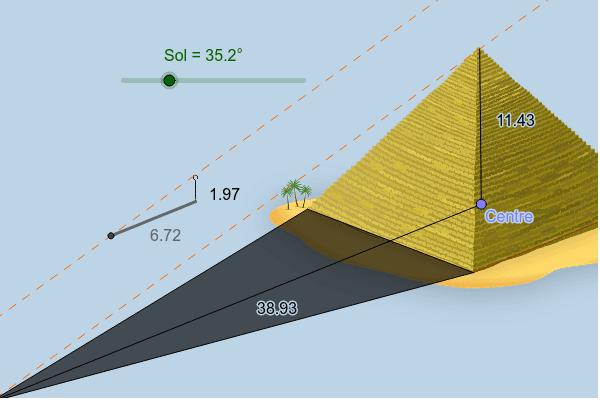 Mou el Sol perquè la seva ombra sigui igual de llarga que la seva alçada. Què passa amb la longitud de l'ombra de la piràmide i la seva alçada? Premeu Enter per iniciar l'activitat