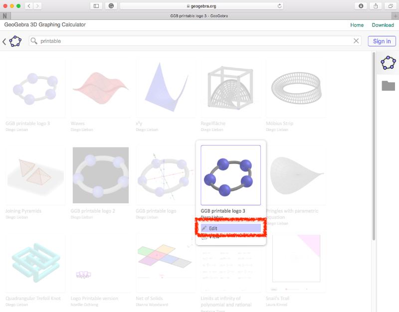 [size=100][i][color=#0000ff]유의사항:[/color][/i] 지오지브라 자료 바를 통해 특정 자료를 검색할 수 있습니다. 예를 들어 [b]printable[/b]을 입력하면 위의 예를 볼 수 있습니다. [/size]