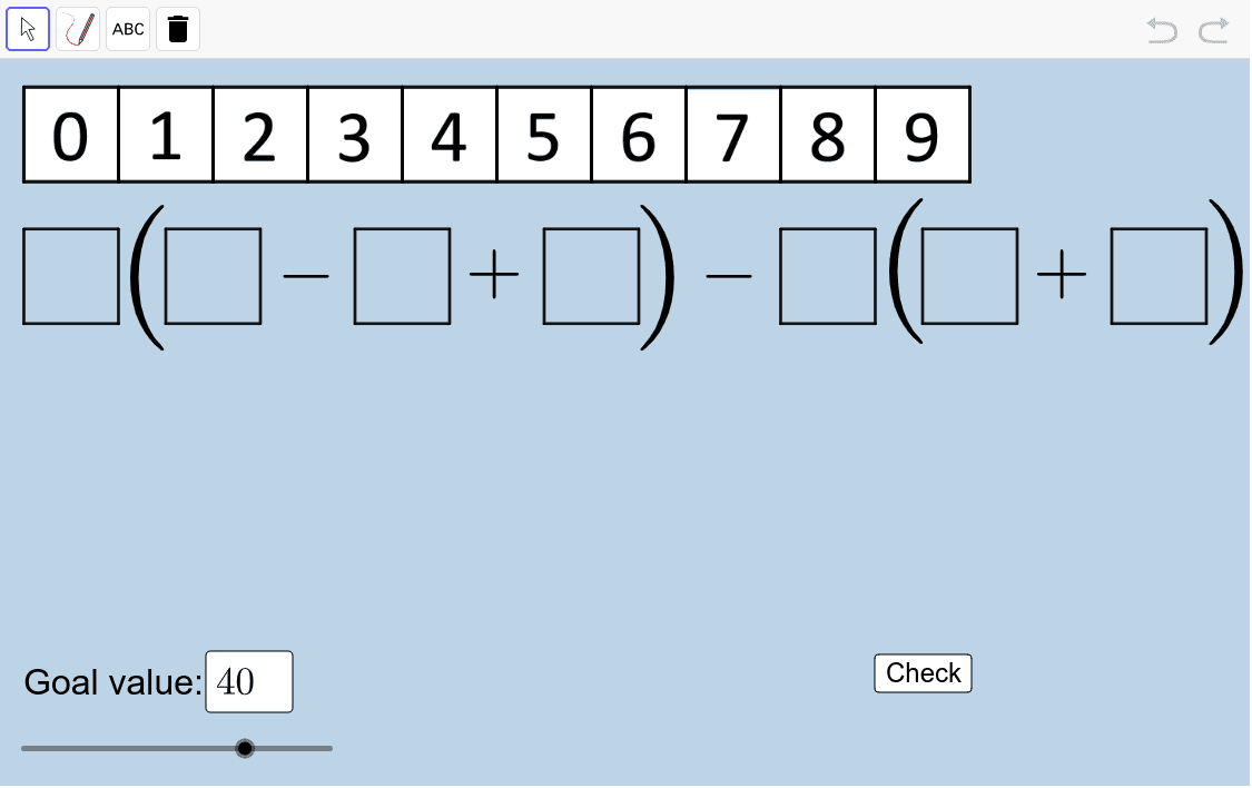 Set a goal value (lower left corner). Drag number tiles in the boxes to try to create an expression equal to this value. Press Enter to start activity
