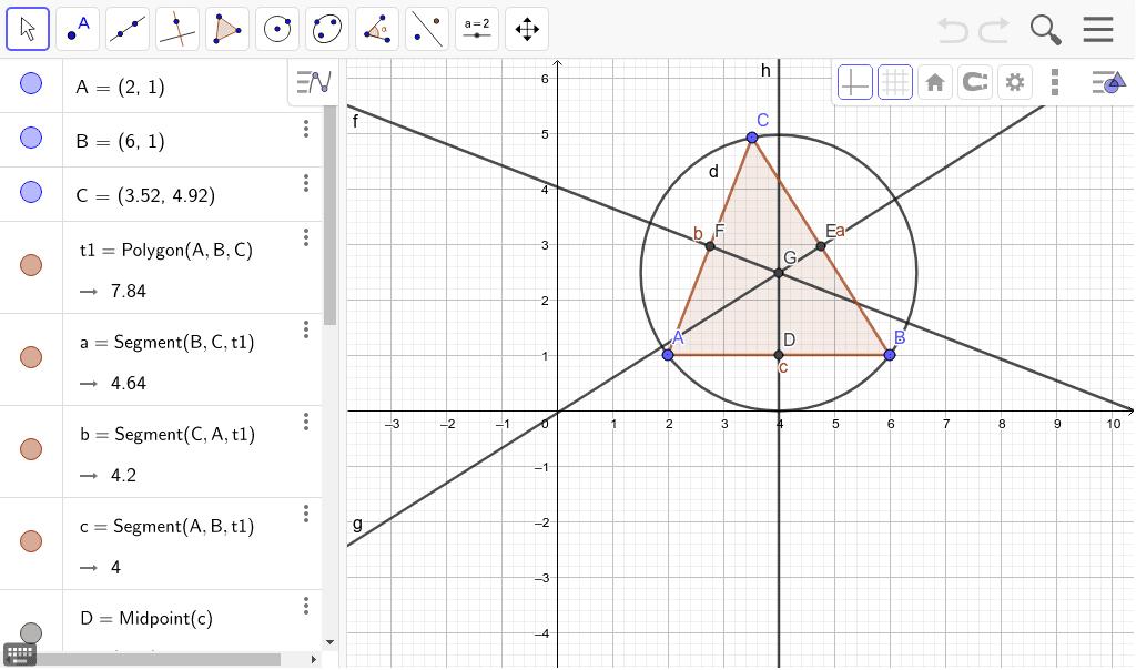 Mueve los puntos A, B y C vértices del triángulo ABC. Observa cuáles son los puntos medios de los lados del triángulo y las mediatrices de dichos lados. Observa que se cortan en el punto G, circuncentro del triángulo. Presiona Intro para comenzar la actividad
