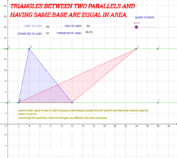 TRIANGLES WITH EQUAL AREA.