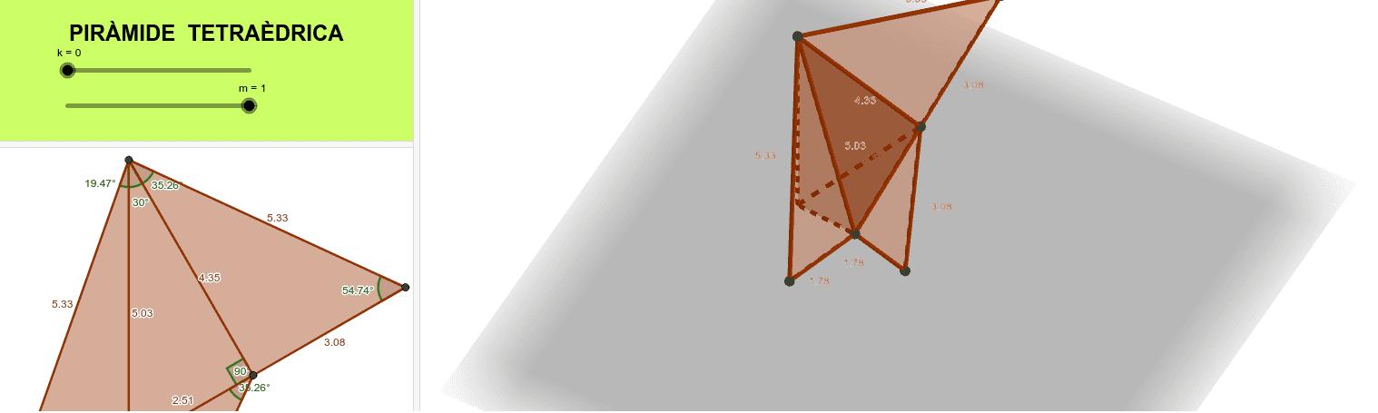 Desplegament pla de la piràmide que surt de les simetries del tetraedre. Premeu Enter per iniciar l'activitat