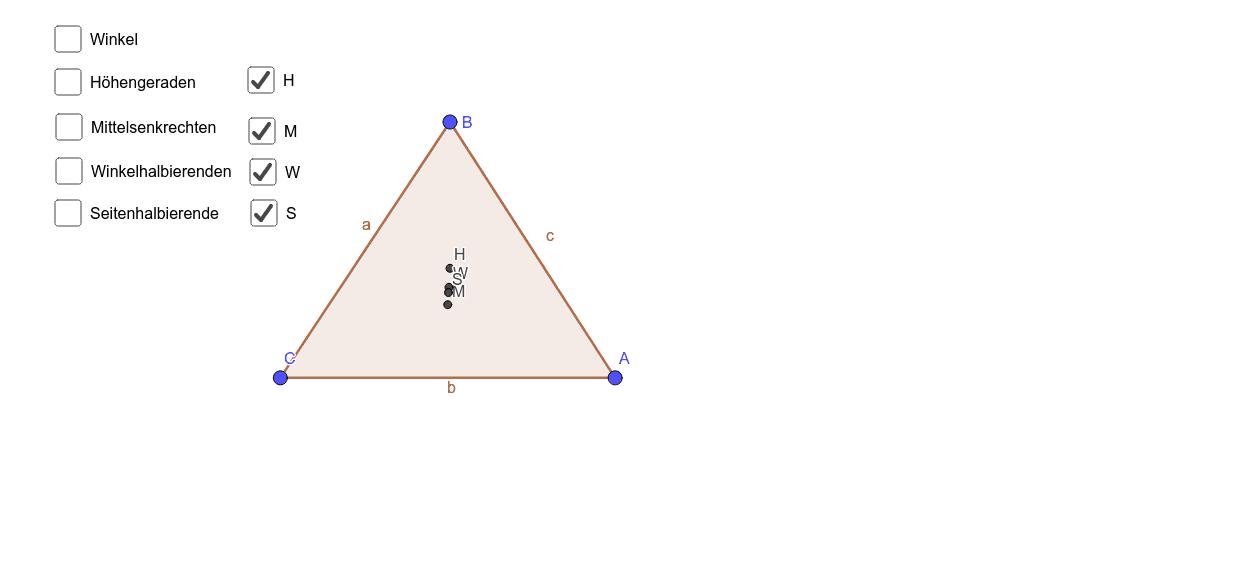 Bewege den Eckpunkt B und beobachte dabei die Lage der Schnittpunkte.