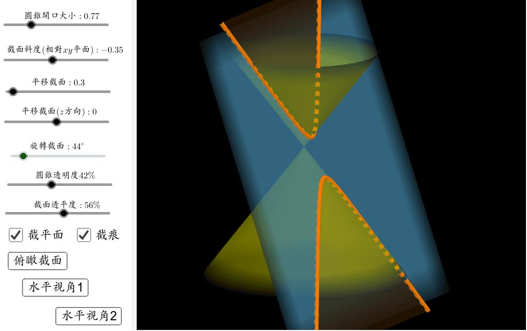 靈感來自:朱安強老師 https://youtu.be/tqc-Cf417GY   可以試著透過俯瞰截面,來看看截痕是哪一種圓錐曲線;亦可透過水平視角,來尋找怎樣的情形下,才會截出橢圓、拋物線、雙曲線。此作品無法將截面變為水平截面,但是可以自己操作後想想看,當截面為水平面(平行x-y平面),截痕會是什麼? 按 Enter 鍵開始活動