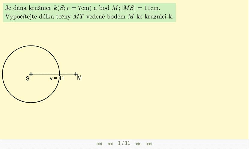 Příklad 1 - bod M je vně kružnice