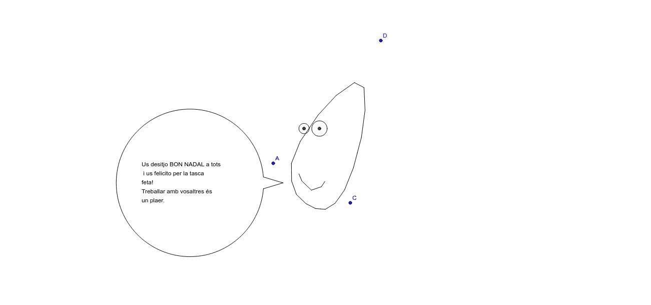 Mou els punts A, C i D per personalitzar la felicitació. Premeu Enter per iniciar l'activitat
