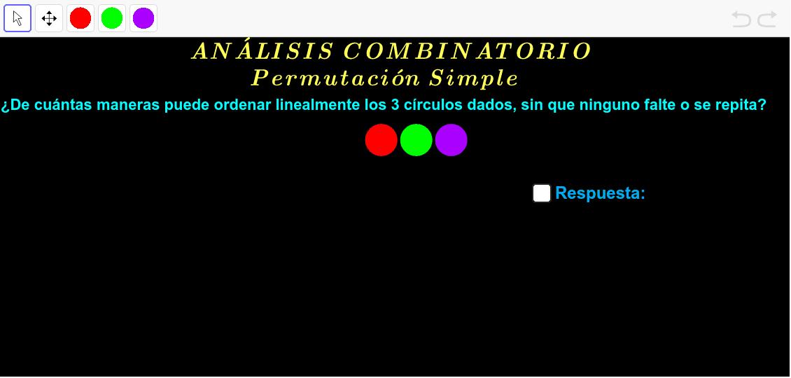 Haga clic en el círculo de color elegido y después clic en la vista gráfica. Presiona Intro para comenzar la actividad