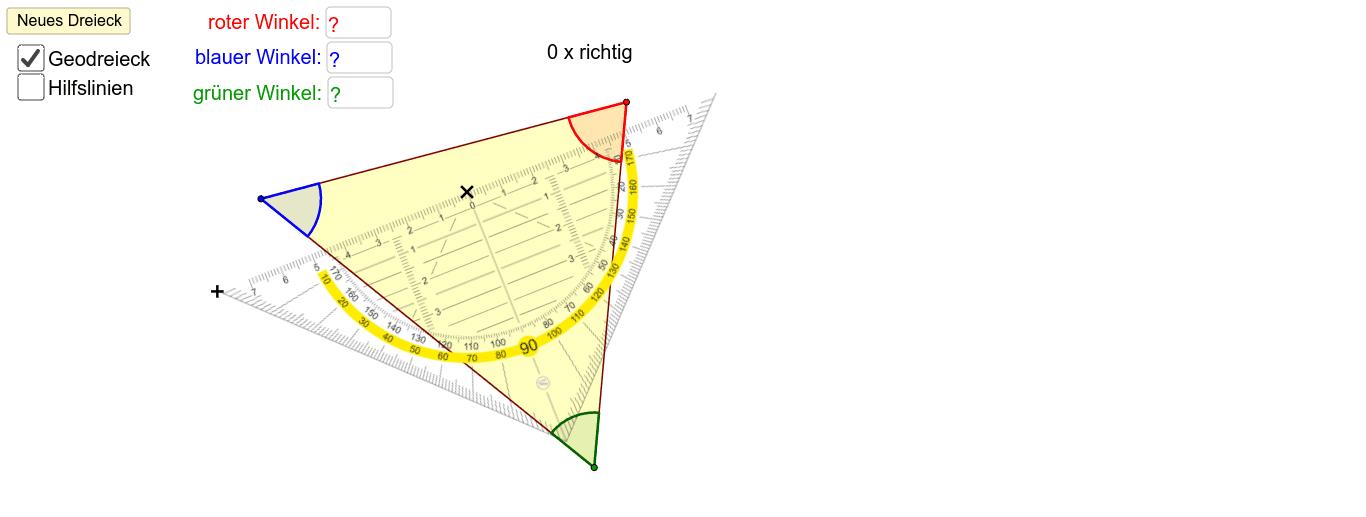Du kannst mit dem Geodreieck die Winkel des Dreiecks messen. Schätze zuerst. Achte darauf, dass du den Winkel von der richtigen Skala abliest. In manchen Fällen benötigst du für das exakte Messen Hilfslinien. Wenn du drei mal richtig gemessen hast darfst
