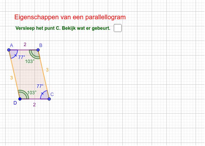Eigenschappen parallellogram Klik op Enter om de activiteit te starten