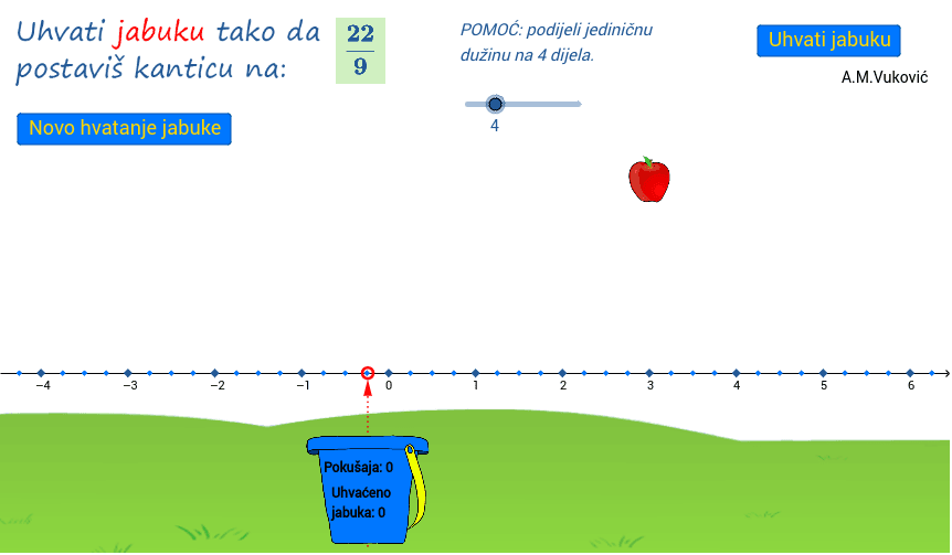 2.) Uhvati jabuku (racionalni brojevi na brojevnom pravcu) Pritisnite Enter kako bi započeli aktivnost