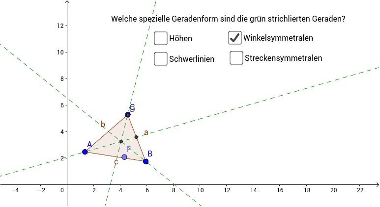 Ziehe mit dem Punkt F eine Spur und finde heraus, um welchen besonderen Punkt im Dreieck es sich handelt!