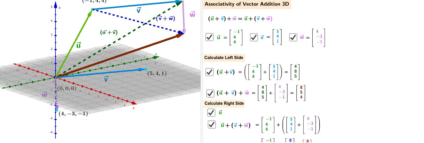 Applet - Associativity - 3D