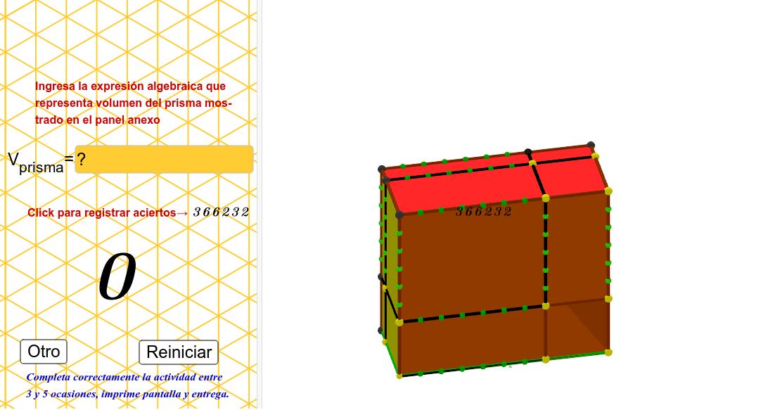 expresa el volumen del prisma algebraicamente...