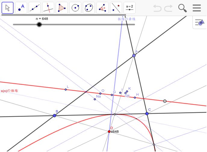 コツコツと一個ずつの心を調べて分かったこと。 x1とx57の垂線とx651の極線はOI線。 x4の垂線とx648の極線はオイラー線(内接二次曲線は放物線)。x6の垂線とx110の極線はKO線。 x145の垂線とx190の極線はナーゲル線(内接二次曲線は放物線)。 x7の垂線とx658の極線はソディ線。x1992の垂線とx99の極線はGK線(放物線) これはプログラムを作れば簡単に調べることが出来ると思うけど。 かなり目が悪くなった。 要は 「極」と「極線」と「内接二次曲線」と「極を通る垂線」はワンセットで ワークシートを始めるにはEnter キーを押してください。