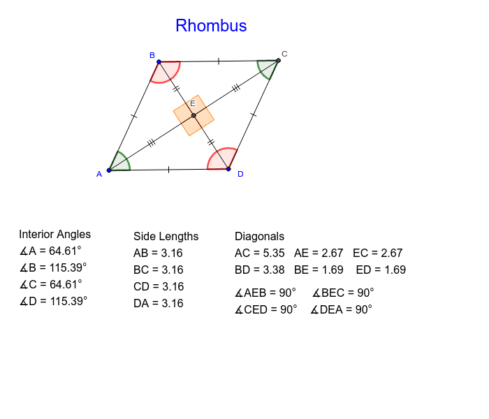 Move the points A, B and D to explore the properties of a rhombus. Press Enter to start activity