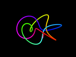 Butterfly making rainbow curves
