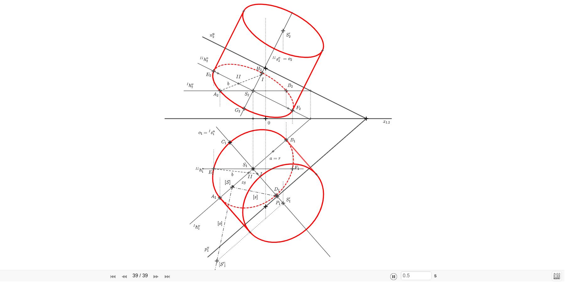 Sestrojte rotační váles s kruhovou podstavou v rovine α=(8; 7; 4), danou středem S=[-1; 4; ?] a poloměrem r = 3,5. Výška válce je v = 6. Zahajte aktivitu stisknutím klávesy Enter