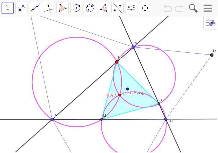 △ABCの等力点を中心にして三円を描くと、△JKMは正三角形になる。等力点とフェルマー点は等角共役点で、このようにきれいな対称性を持っている。