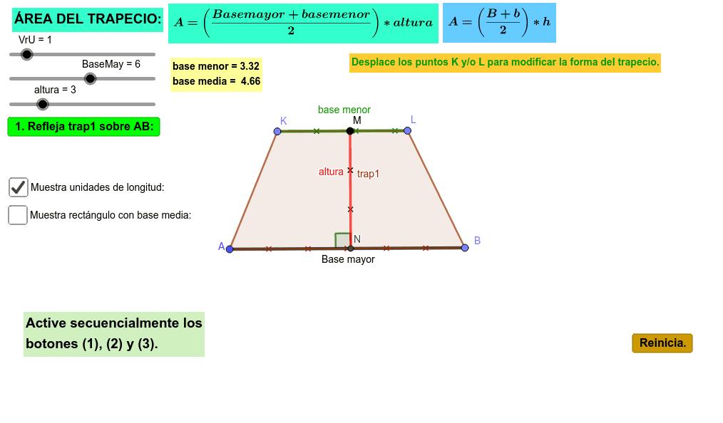 Aplicativo para analizar el área de un trapecio y su fórmula matemática