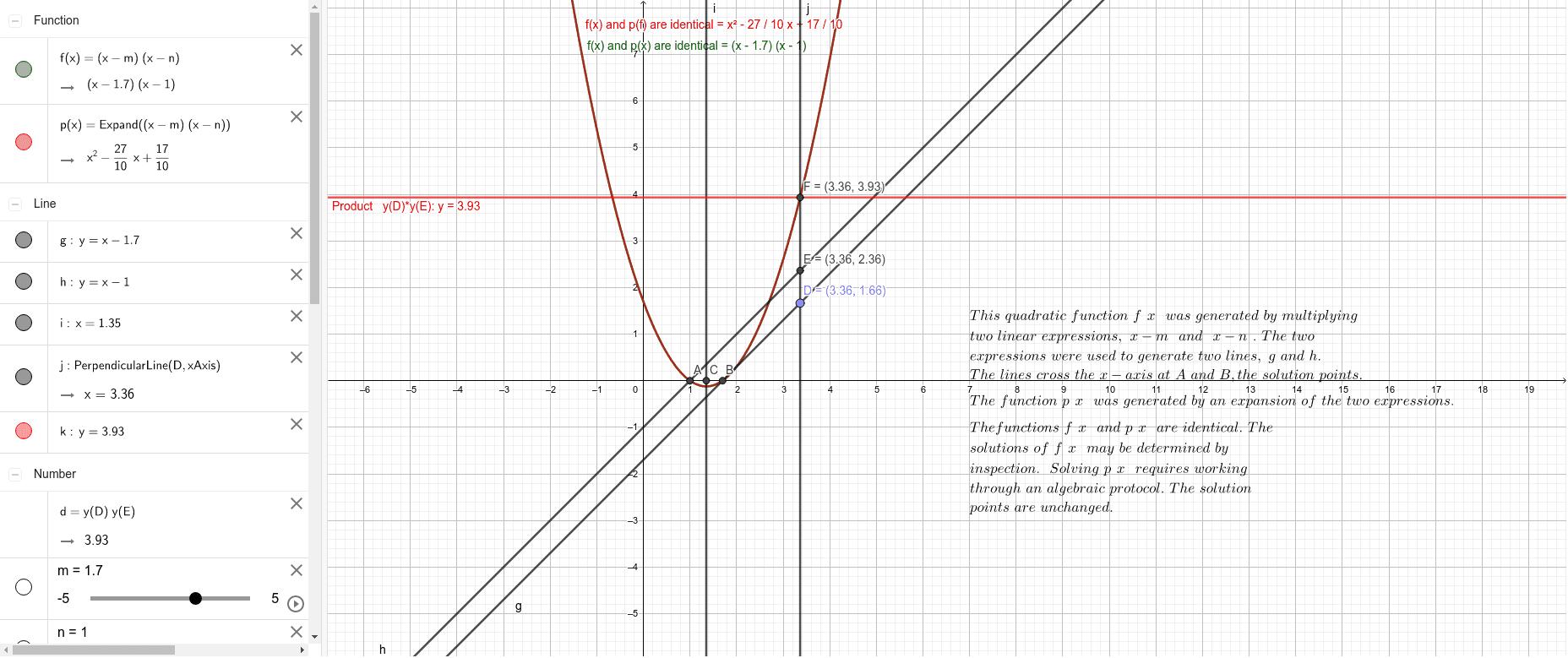 Generating a Quadratic Equation,  example Press Enter to start activity