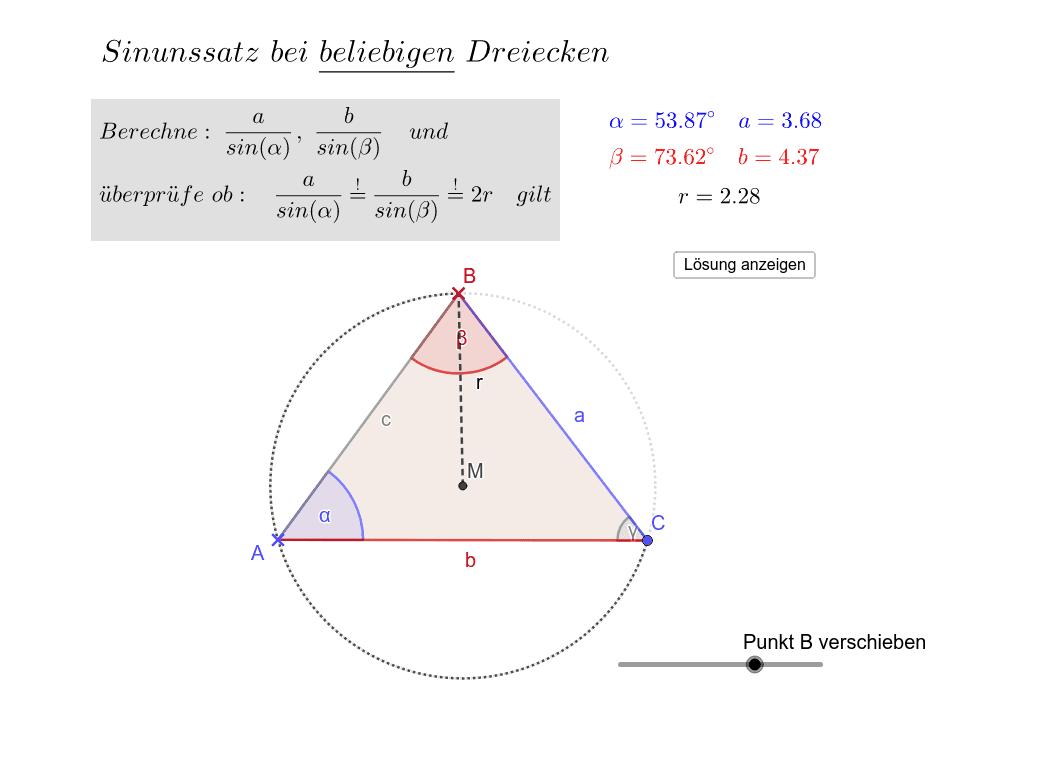 Überprüfe den Sinussatz für Dreiecke mit Winkeln, die größer als 90° sind! Drücke die Eingabetaste um die Aktivität zu starten