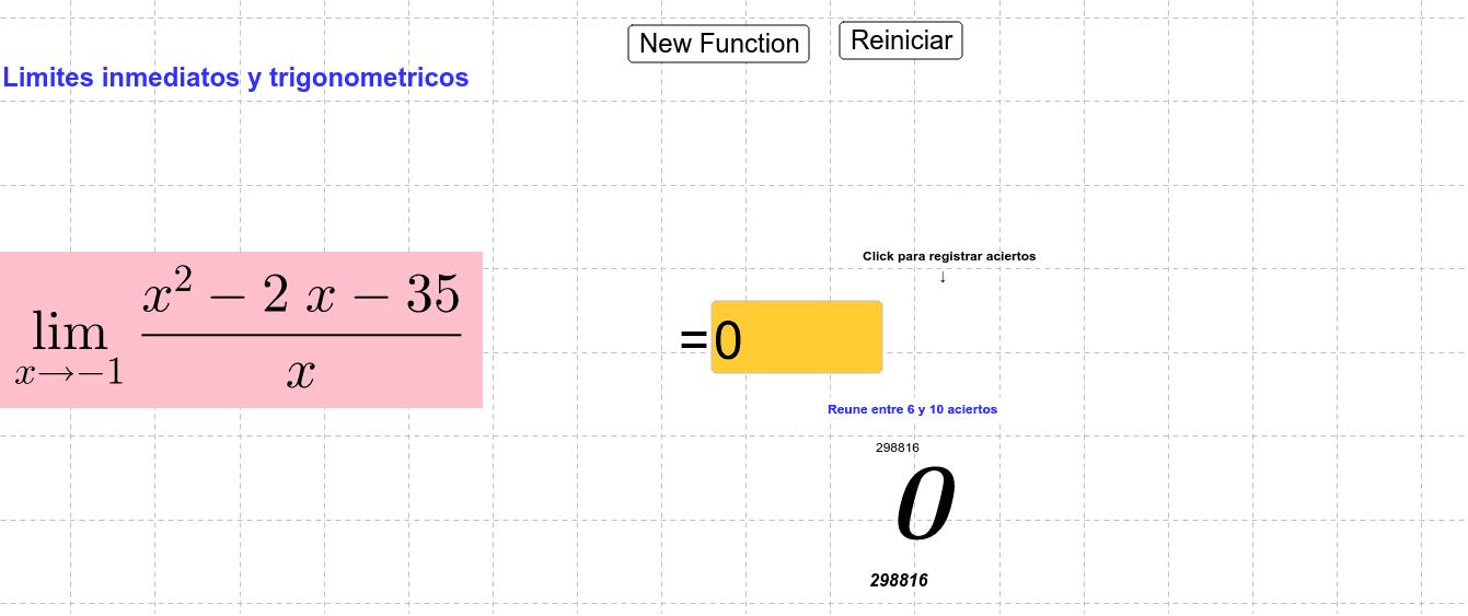 Adaptación del material: Algebraic Limits Quiz compartido por Alan-
