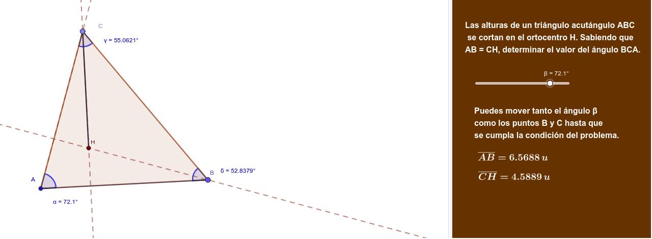 Las alturas de un triángulo acutángulo ABC se cortan en H. Si AB=CH, halla el valor del ángulo BCA.