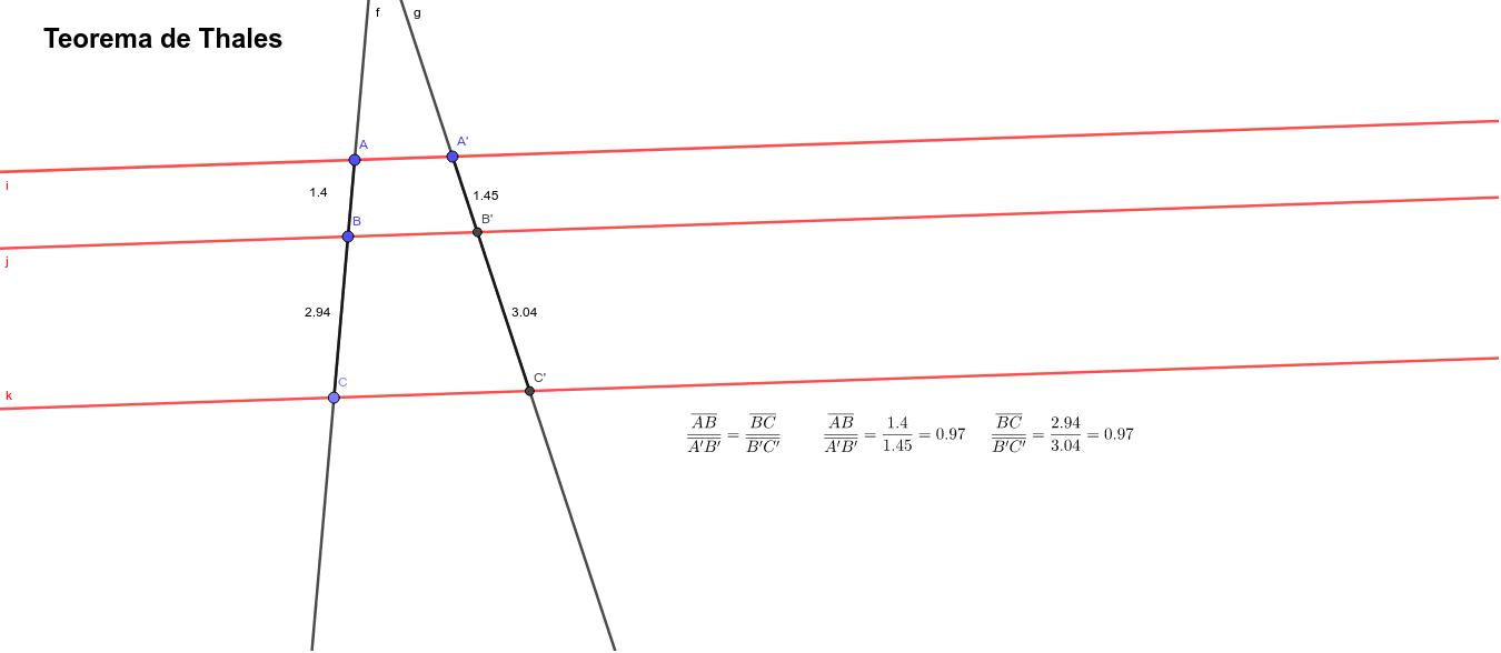 Manipula los puntos A, A', B o C y comprueba cómo la proporción entre los segmentos homólogos se mantiene constante: Presiona Intro para comenzar la actividad