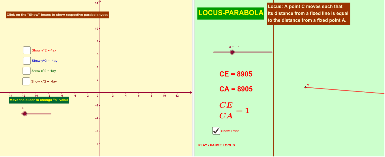 Parabola types and Locus Press Enter to start activity