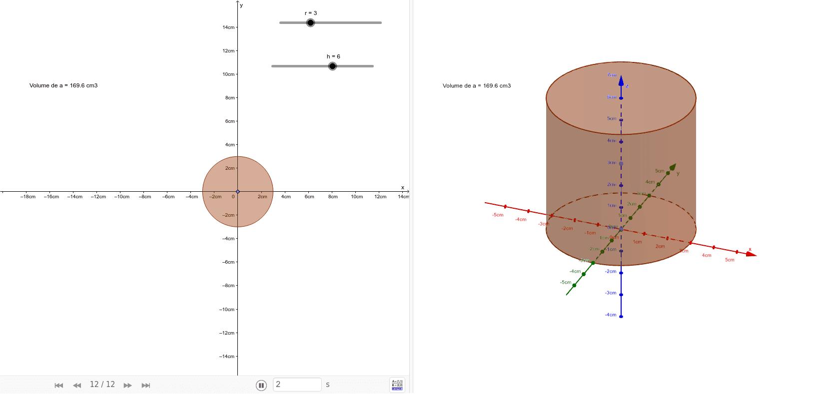 """r = rayon du piston en cm et  h = course du piston en cm Tapez """"Entrée"""" pour démarrer l'activité"""