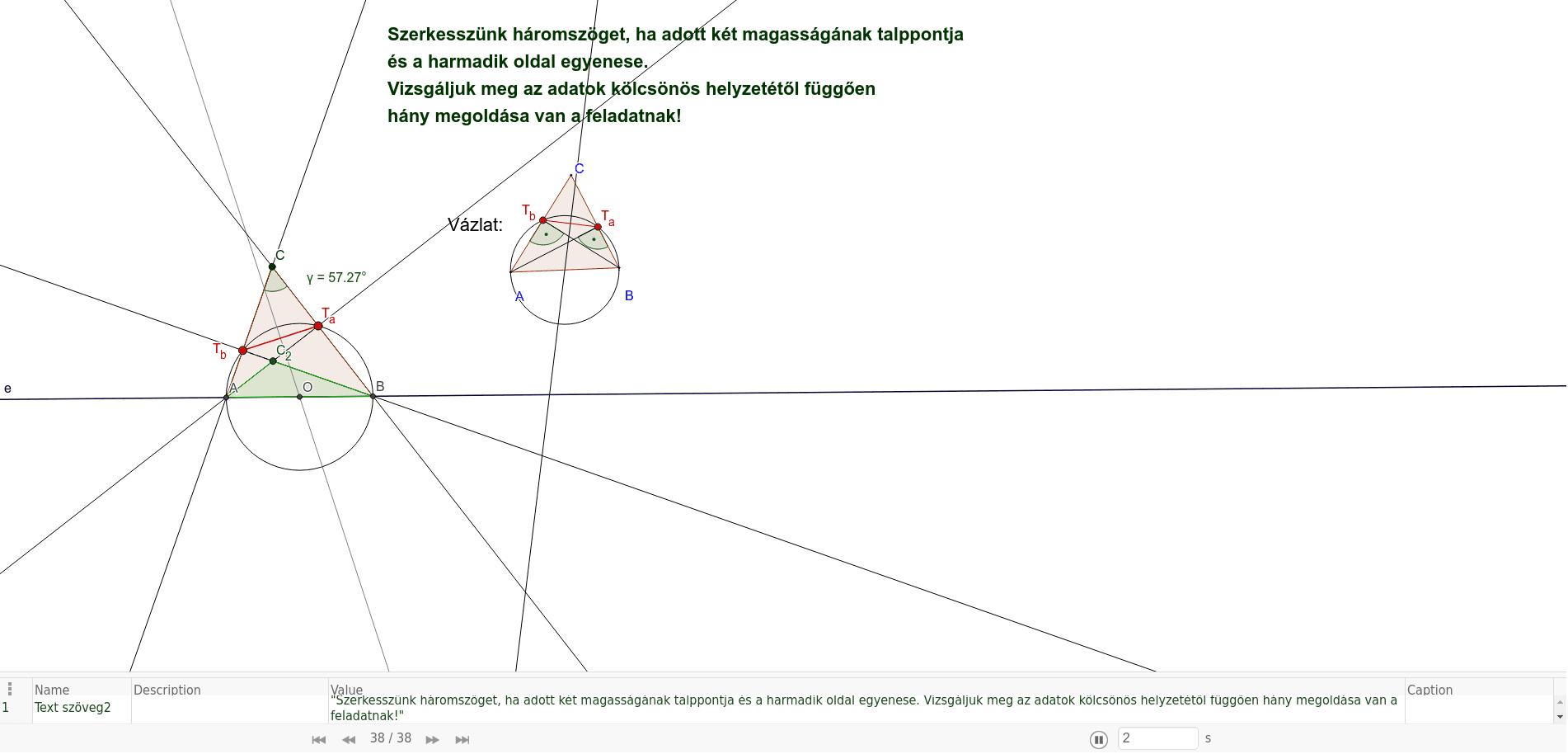 Háromszög szerkesztés Thálész-kör segítségével Press Enter to start activity