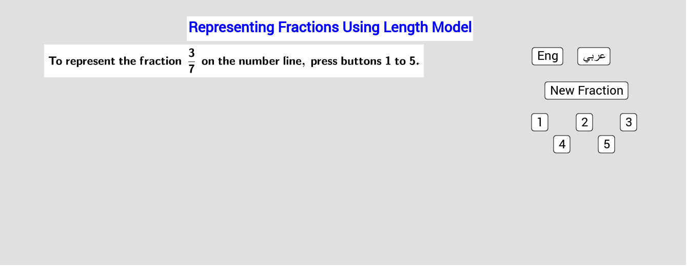 Representing Fractions Using Length Model      تمثيل الكسور باستخدام نموذج الطول Press Enter to start activity