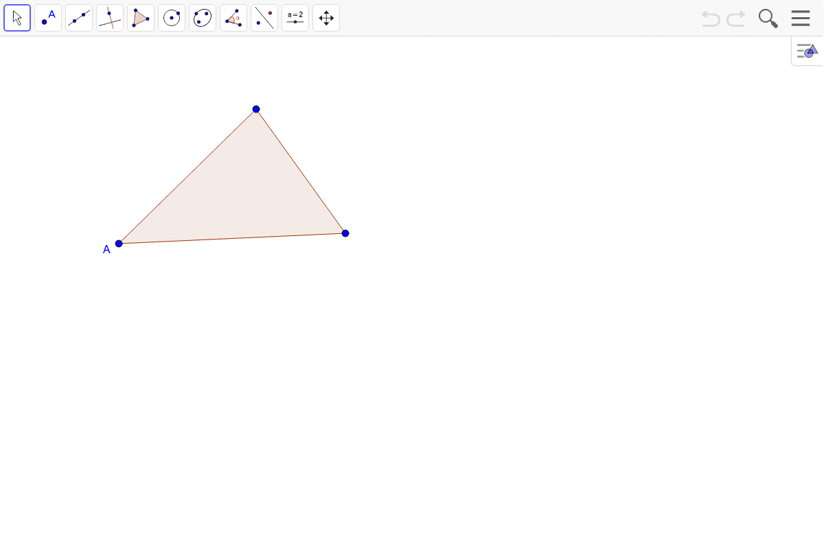 Now with a triangle. Construct a perpendicular to the side opposite A, through point A.