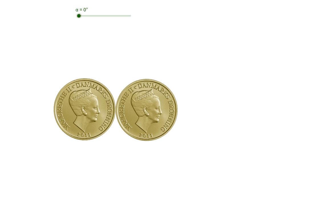 Gæt først: Hvis du drejer mønten en halv omgang om den anden mønt - vil ansigtet vende rigtigt eller på hovedet?