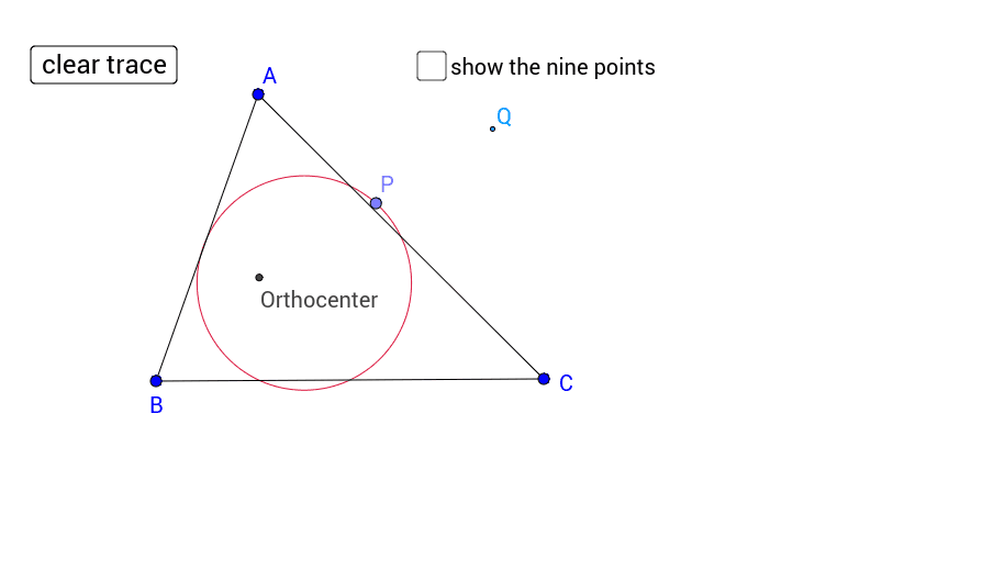Move point P to see what happens when you reflect the orthocenter through the points on the nine point circle.