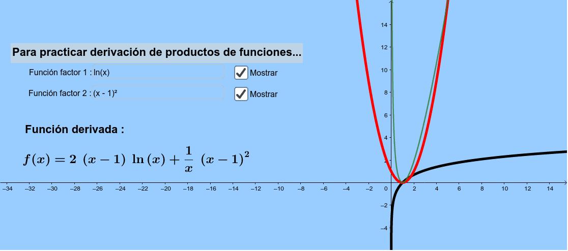 Aquí, se ingresan las funciones factores y se obtiene la función ya derivada...