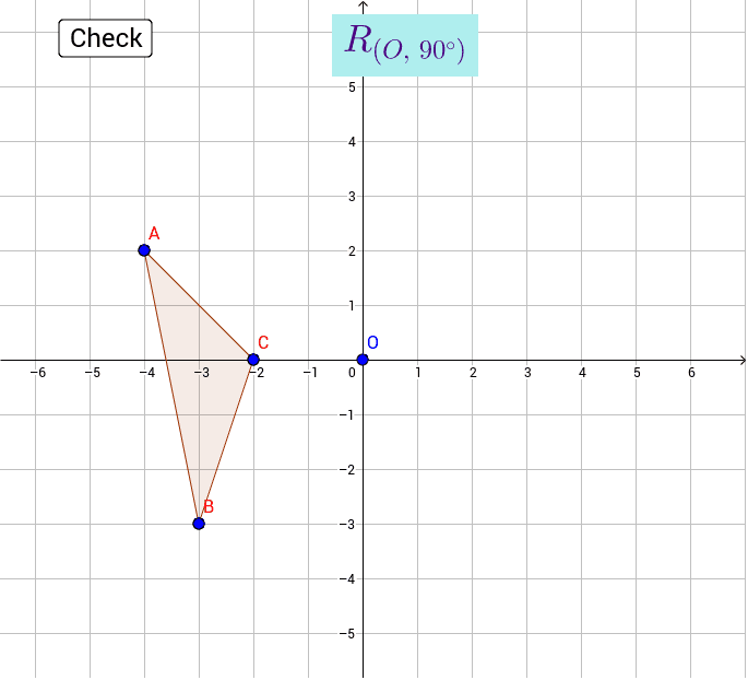 Drag the points to the image of triangle ABC after a rotation of 90° about point the origin. Press Enter to start activity