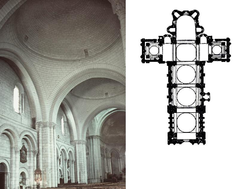 interieur en plan van de kathedraal van Angoulême (1120-1130)