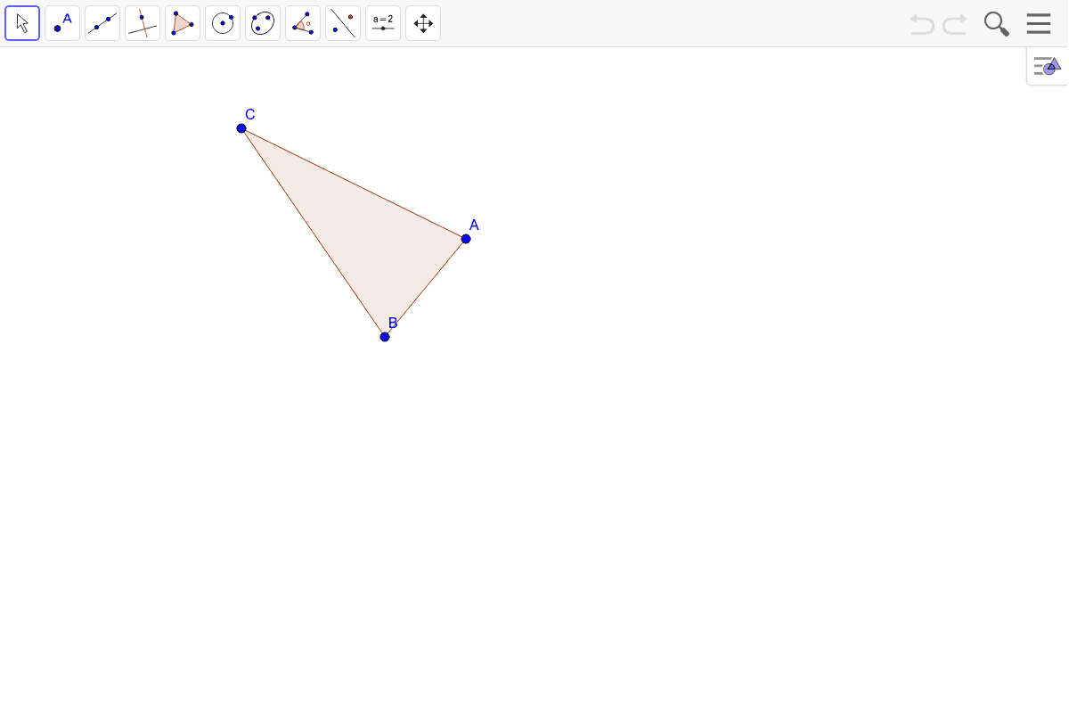 2) Construct the incenter of this triangle.
