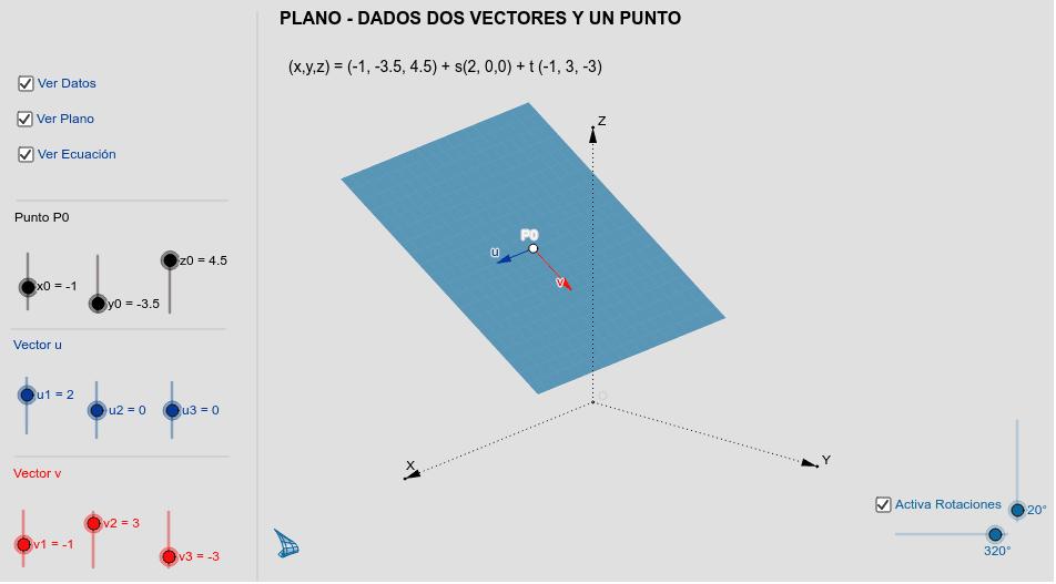 PLANO - Plano dados dos vectores y un punto