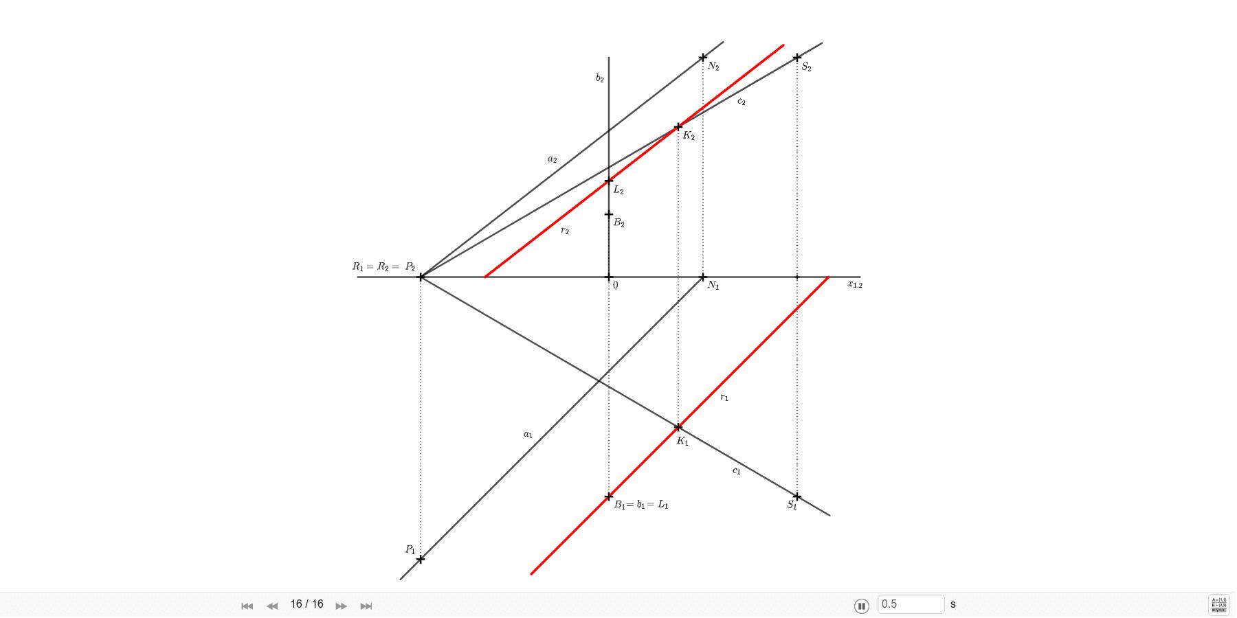Sestrojte přímku, která je rovnoběžná s přímkou a=PN, protíná přímku b (b ⊥ π, B ∈ b) a zároveň protíná přímku c = RS. A=[-6; 9; 0], B=[3; 0; 7], B=[0; 7; 0], R=[-6; 0; 0], S=[6; 7; 7;]. Zahajte aktivitu stisknutím klávesy Enter
