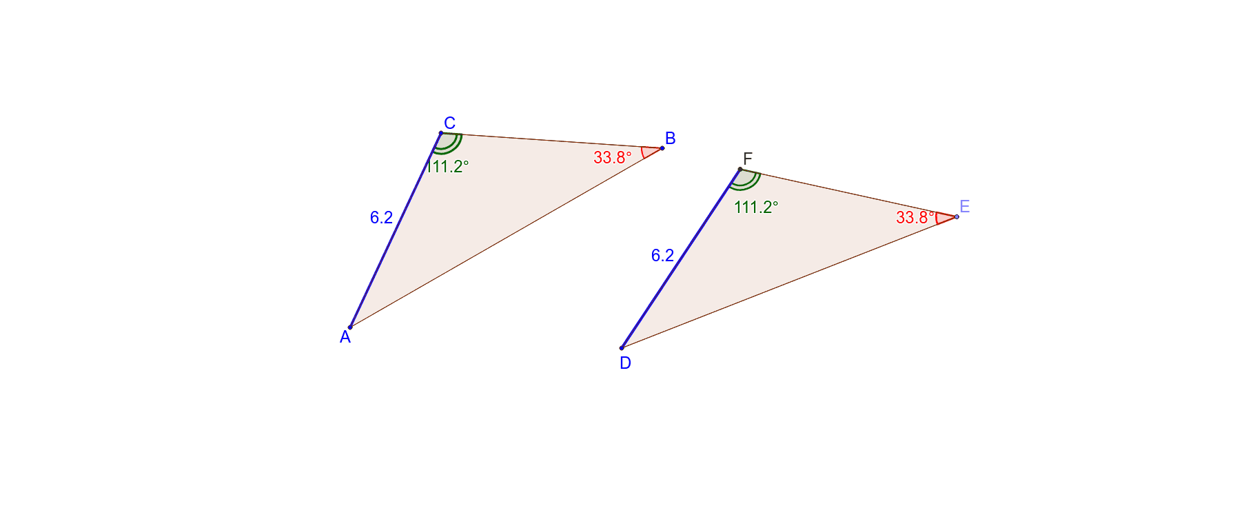 2 angles of the same size and 1 pair of corresponding sides of the same length. Always congruent? Press Enter to start activity