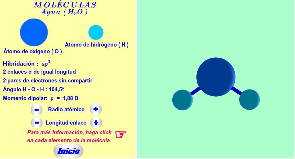 Agua ( haga click en cada elemento de la molécula y en cada texto de la izquierda ).