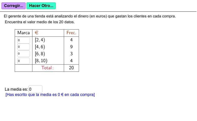 Completa la tabla con la marca de clase y calcula la media. Luego, verifica tus respuestas. Presiona Intro para comenzar la actividad