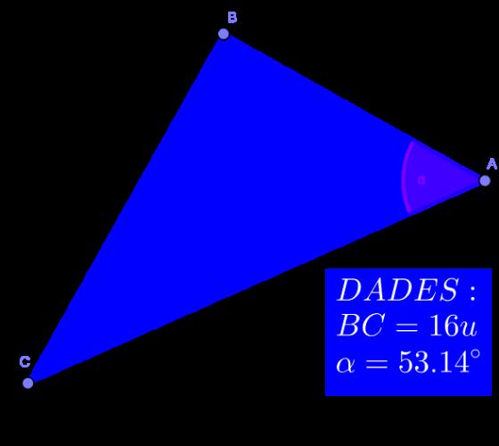Observa el següent triangle rectangle. Digues tota la informació que siguis capaç d'esbrinar a partir de les dades. Impressiona'm!