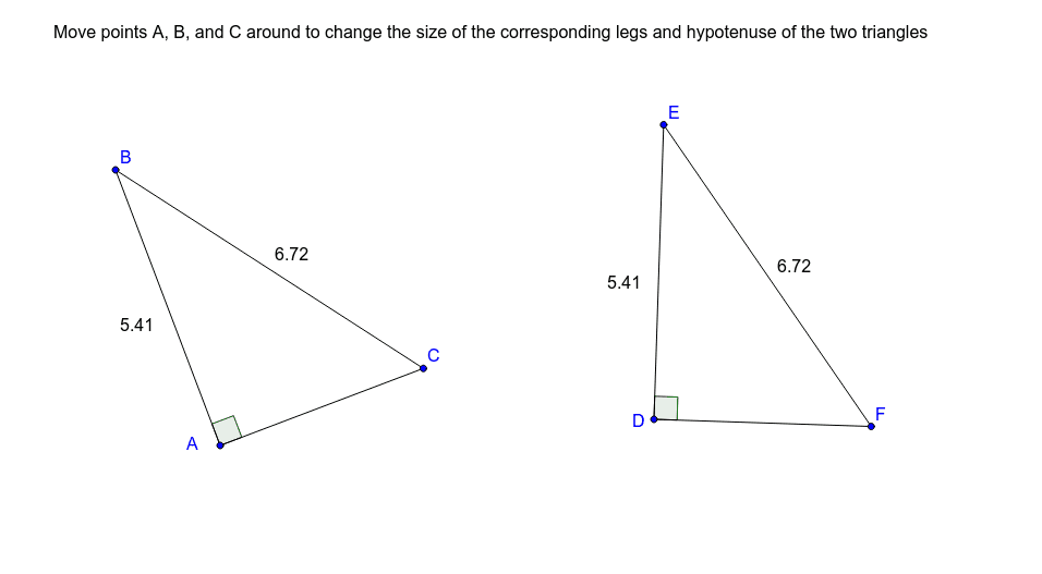 Right triangles with same hypotenuses and corresponding other side of the same length. Always congruent? Press Enter to start activity